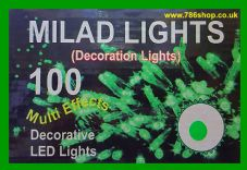 Green 100 LED Lights ( Decoration Lights ) Ideal for Islamic Milad & Christmas
